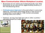 mass communication affects workplace location