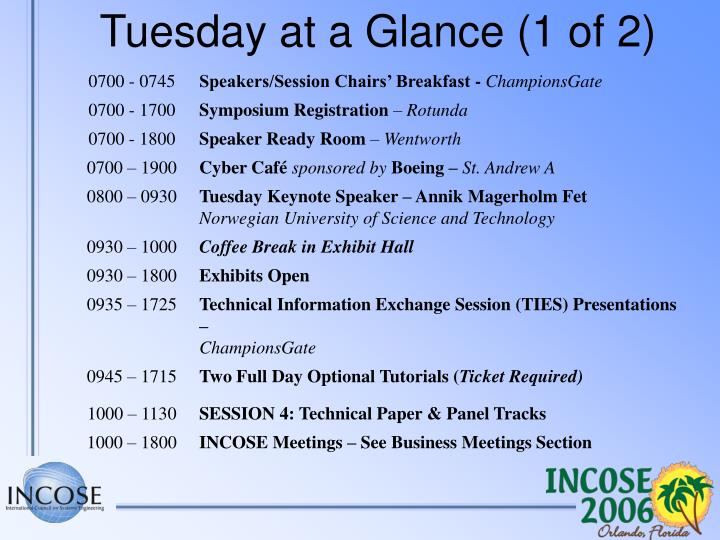 Tuesday at a Glance (1 of 2)