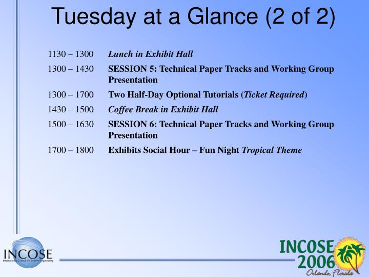 Tuesday at a Glance (2 of 2)