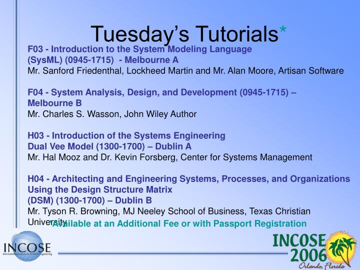Tuesday's Tutorials