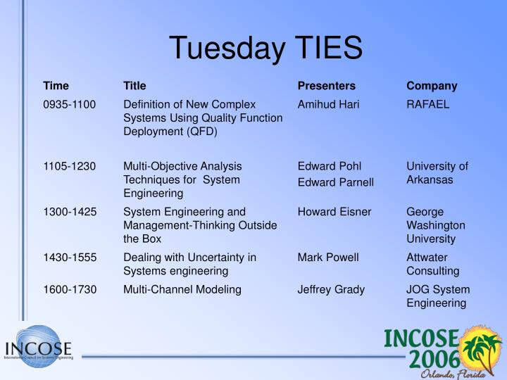 Tuesday TIES