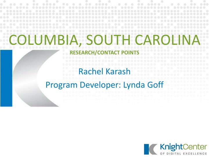 Columbia south carolina research contact points