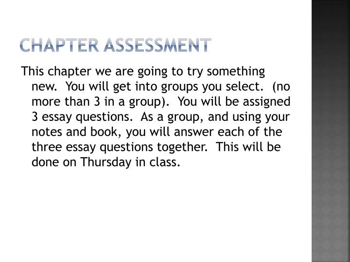 Chapter assessment