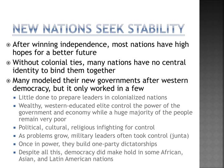 New nations seek stability