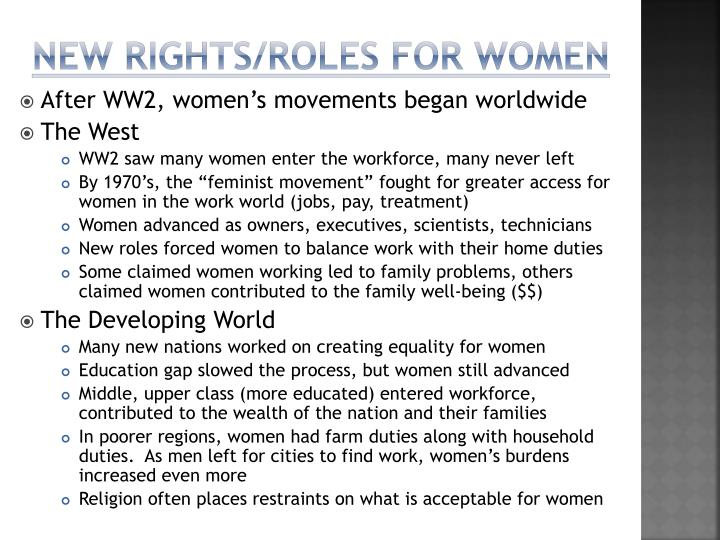 New rights/roles for women