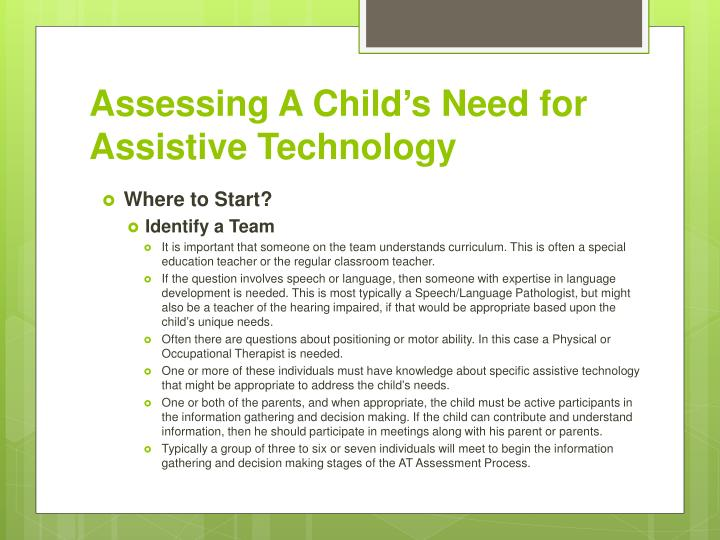 Assessing A Child's Need for Assistive