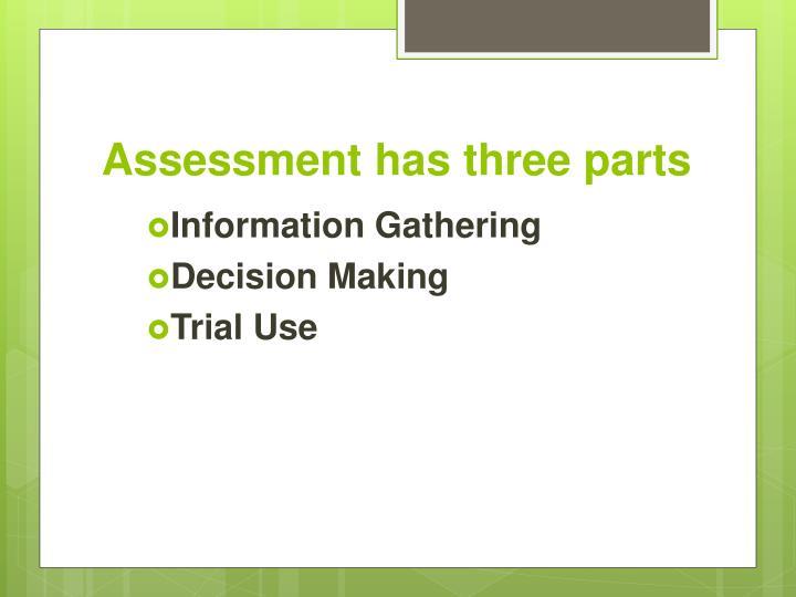 Assessment has three