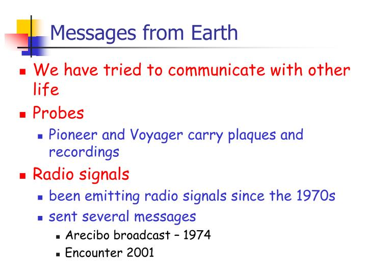 Messages from Earth