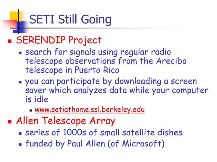 SETI Still Going