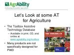 let s look at some at for agriculture