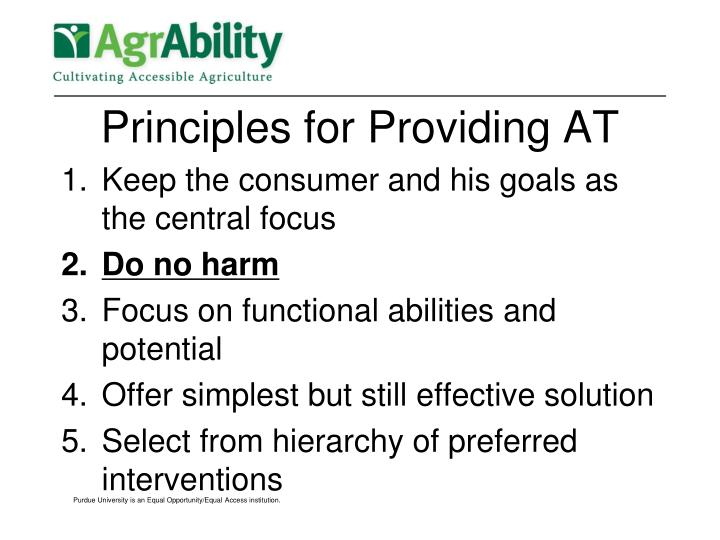 Principles for Providing AT