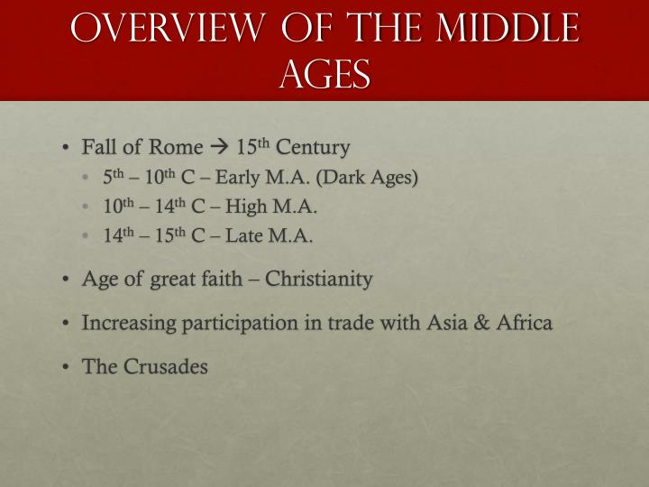 Overview of the middle ages