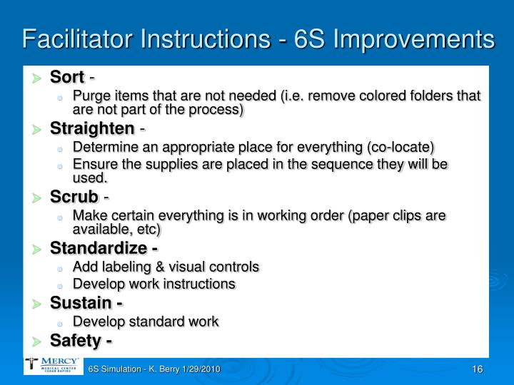 Facilitator Instructions - 6S Improvements
