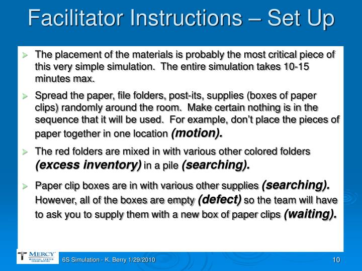 Facilitator Instructions – Set Up