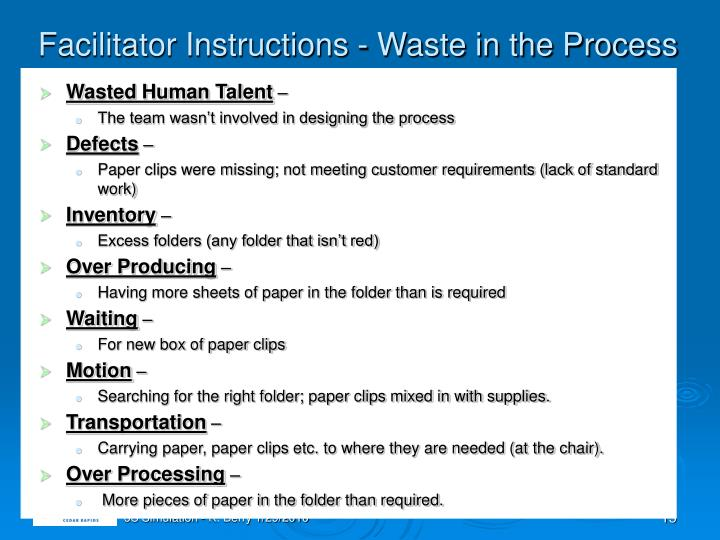 Facilitator Instructions - Waste in the Process