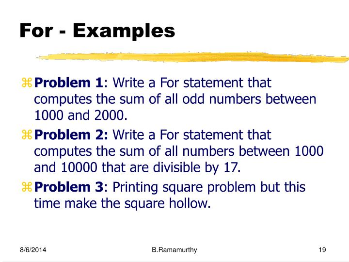 For - Examples