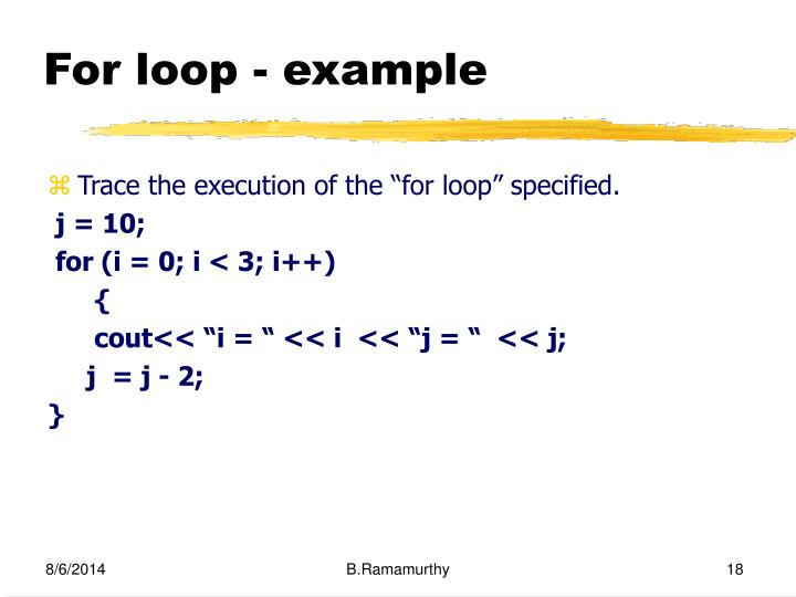 For loop - example