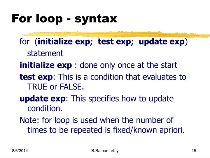 For loop - syntax