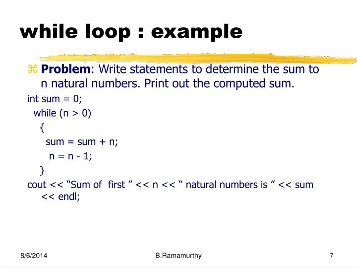 while loop : example