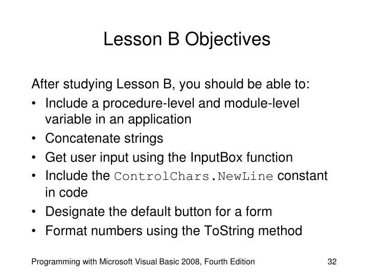 Lesson B Objectives