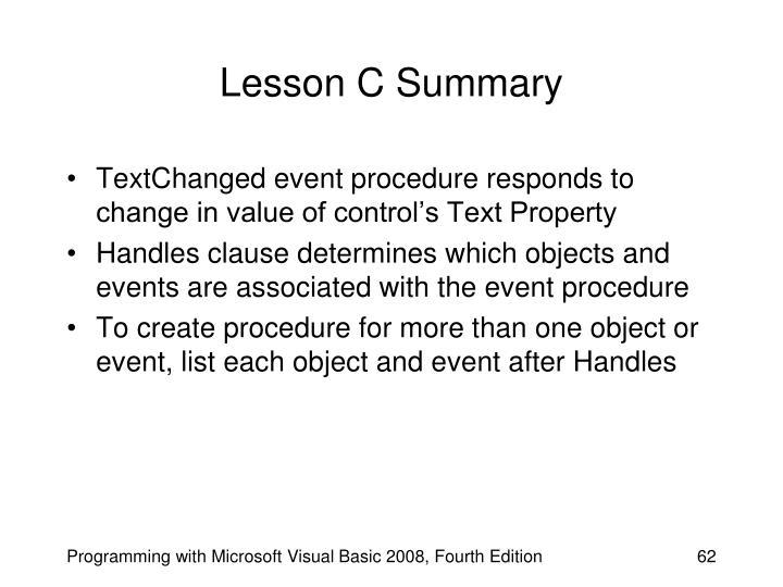 Lesson C Summary