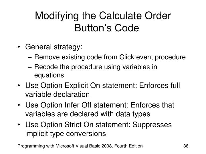 Modifying the Calculate Order Button's Code