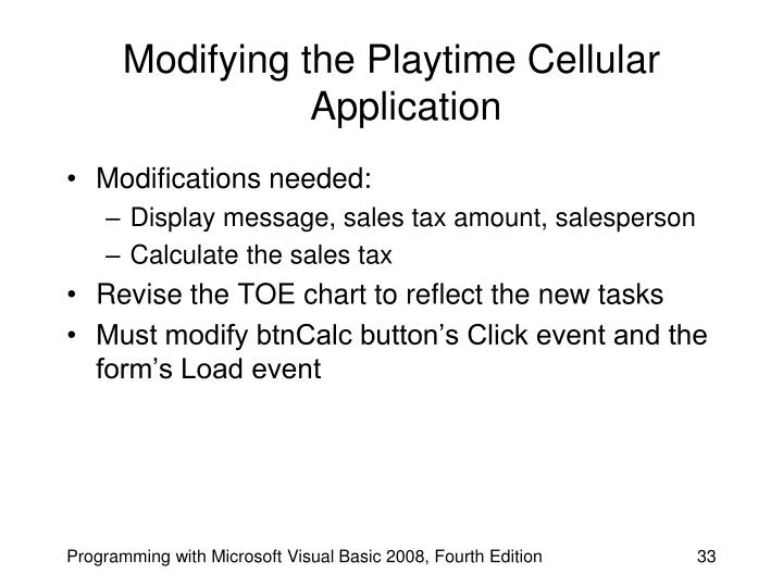 Modifying the Playtime Cellular Application