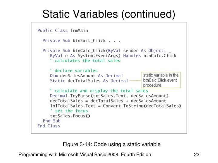 Static Variables (continued)