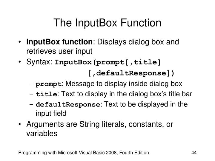 The InputBox Function