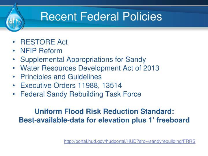 Recent Federal Policies