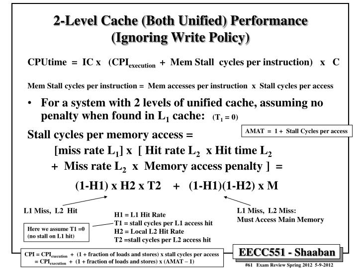 2-Level Cache (Both Unified) Performance