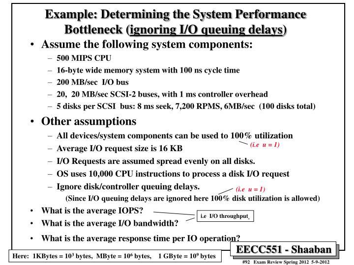 Example: Determining the System Performance Bottleneck (