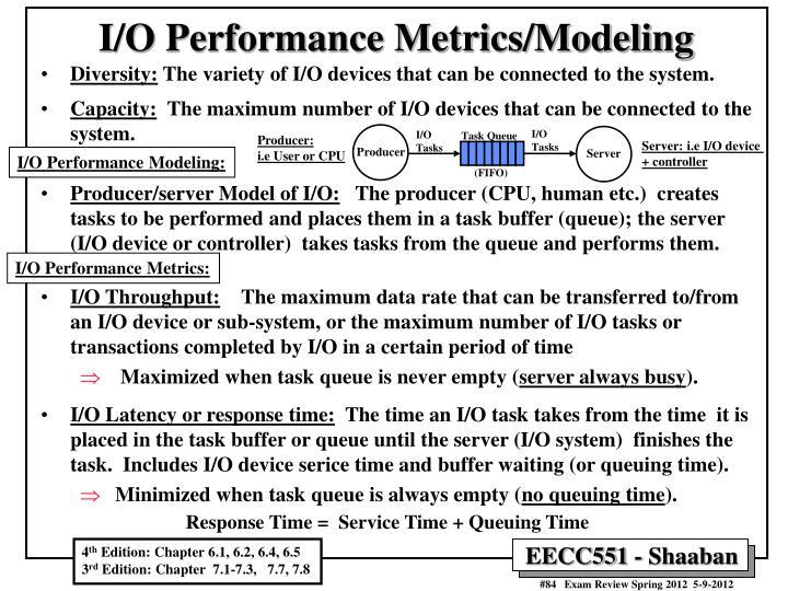 I/O Performance Metrics/Modeling