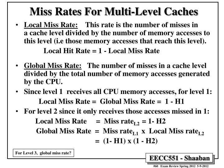 Miss Rates For Multi-Level Caches