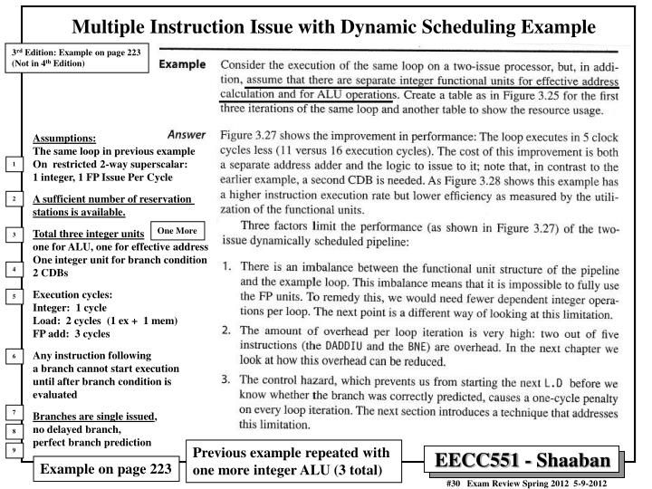 Multiple Instruction Issue with Dynamic Scheduling Example