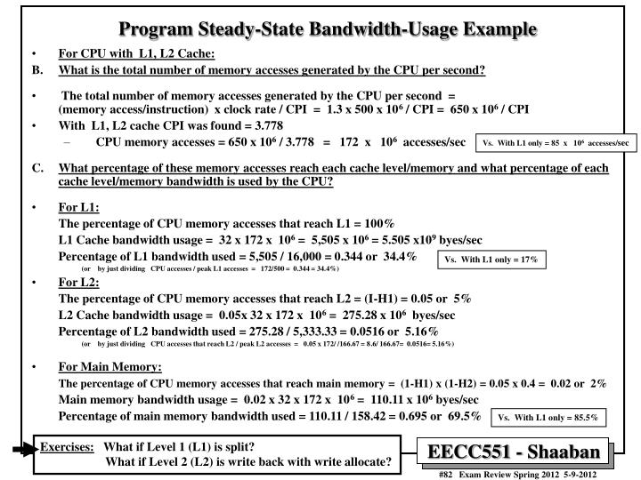 Program Steady-State Bandwidth-Usage Example