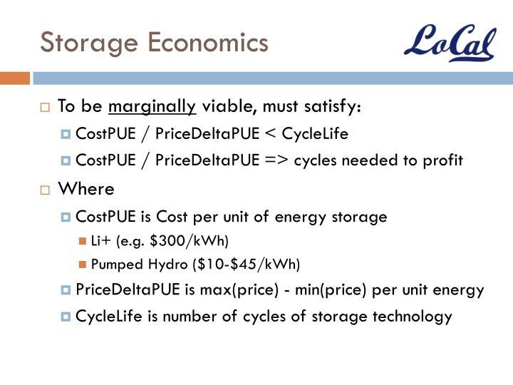 Storage Economics