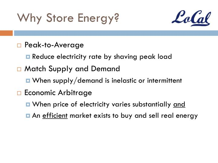 Why store energy