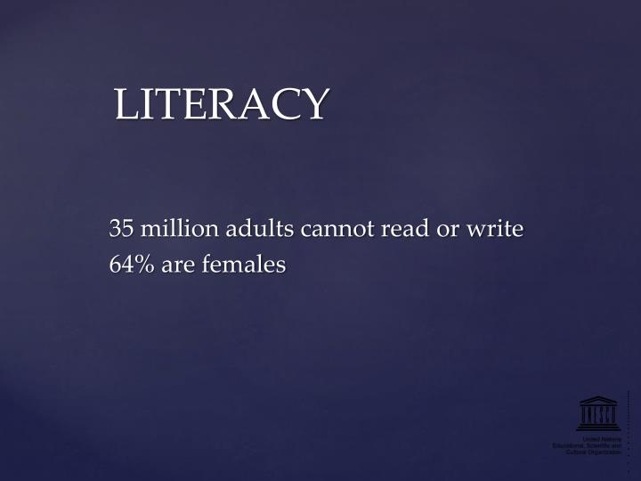 35 million adults cannot read or write