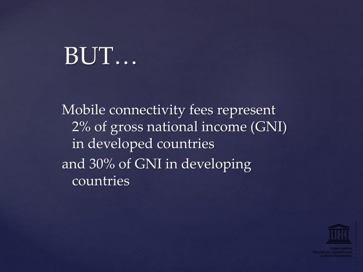 Mobile connectivity fees represent 2% of gross national income (GNI) in developed countries