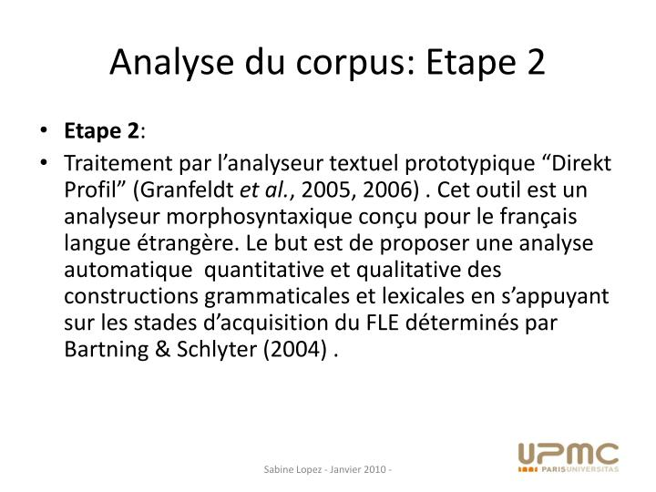 Analyse du corpus: Etape 2
