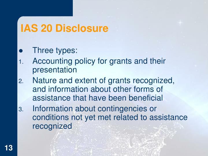 IAS 20 Disclosure