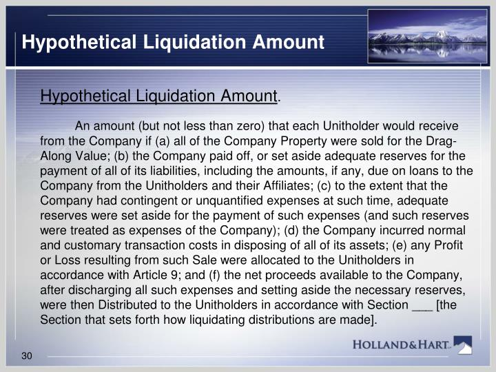 Hypothetical Liquidation Amount
