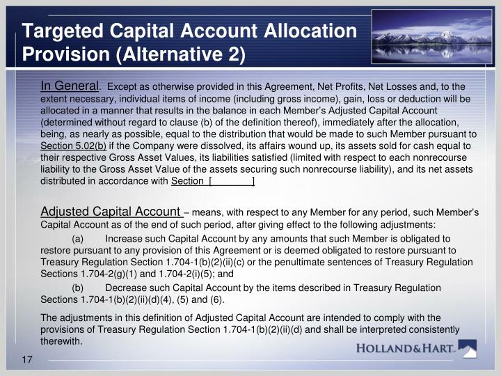 Targeted Capital Account Allocation Provision (Alternative 2)
