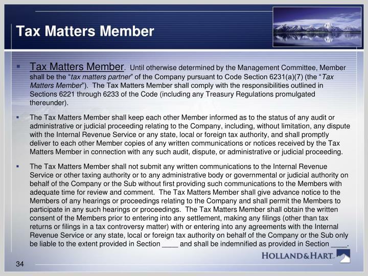 Tax Matters Member
