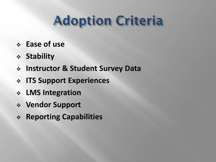 Adoption Criteria