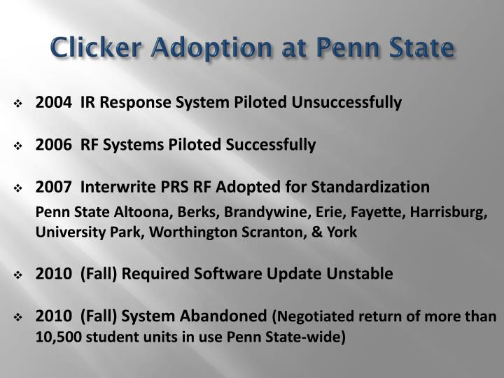 Clicker adoption at penn state