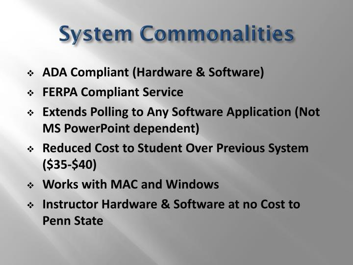 System Commonalities