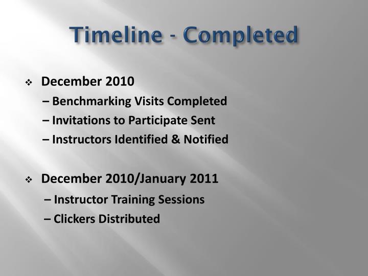 Timeline - Completed