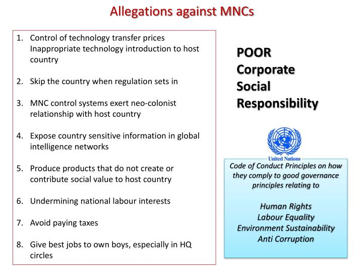 Allegations against MNCs